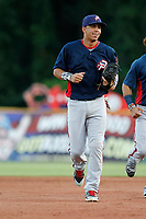 Potomac Nationals shortstop Luis Garcia (16) running to the dugout during a game against the Myrtle Beach Pelicans at Ticketreturn.com Field at Pelicans Ballpark on July 19, 2018 in Myrtle Beach, South Carolina. Potomac defeated Myrtle Beach 6-3. (Robert Gurganus/Four Seam Images)