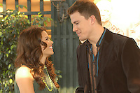 """JENNA DEWAN & CHANNING TATUM .Photocall for """"Stp Up"""", Hotel Eden, Rome, Italy..December 15th, 2006.headshot portrait profile green necklace brown suit jacket.CAP/CAV.©Luca Cavallari/Capital Pictures"""