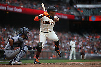 SAN FRANCISCO, CA - APRIL 5:  Yangervis Solarte #26 of the San Francisco Giants bats against the Tampa Bay Rays during the game at Oracle Park on Friday, April 5, 2019 in San Francisco, California. (Photo by Brad Mangin)