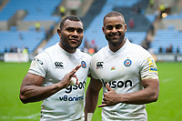 Semesa Rokoduguni and Aled Brew of Bath Rugby pose for a photo after the match. Aviva Premiership match, between Wasps and Bath Rugby on October 1, 2017 at the Ricoh Arena in Coventry, England. Photo by: Patrick Khachfe / Onside Images