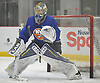 Linus Soderstrom #35, goalie, sqaures to a shooter during New York Islanders Prospect Mini Camp at Northwell Health Ice Center in East Meadow, NY on Wednesday, June 28, 2017.