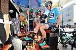 Race leader Sam Bennett (IRL) Bora-Hansgrohe gets a shoe shine before Stage 3 of the Presidential Cycling Tour of Turkey 2017 running 128.6km from Fethiye to Marmaris, Turkey. 12/10/2017.<br /> Picture: Brian Hodes/VeloImages | Cyclefile<br /> <br /> <br /> All photos usage must carry mandatory copyright credit (&copy; Cyclefile | Brian Hodes/VeloImages)
