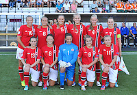 20140718 - Tonsberg , NORWAY : Norwegian team pictured with Cecilie Fiskerstrand (1) , Marit Clausen (3) , Ane Walsoe (4) , Andrine Tomter (5) , Lisa Naalsund (6) , Vilde Boe Risa (7) , Synne Hansen (8) , Sigrid Hansen (9) , Synne Jensen (10) , Marie Markussen (11) and Tuva Hansen (13) during the female soccer match between Women under 19 teams of Norway and Belgium , on the second matchday in group A of the UEFA Women Under19 European Championship at Tonsberg Stadion , Norway . Friday 18th July 2014 . PHOTO DAVID CATRY