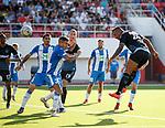 09.07.2019: St Joseph's v Rangers: Alfredo Morelos powers a header goalwards