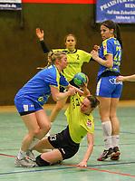 Stefanie Hummel (Leipzig) stoppt Celina Schwarzkopf (SG WBW) - 10.03.2019: SG Weiterstadt/Braunshardt/Worfelden vs. HC Leipzig, Sporthalle Braunshardt