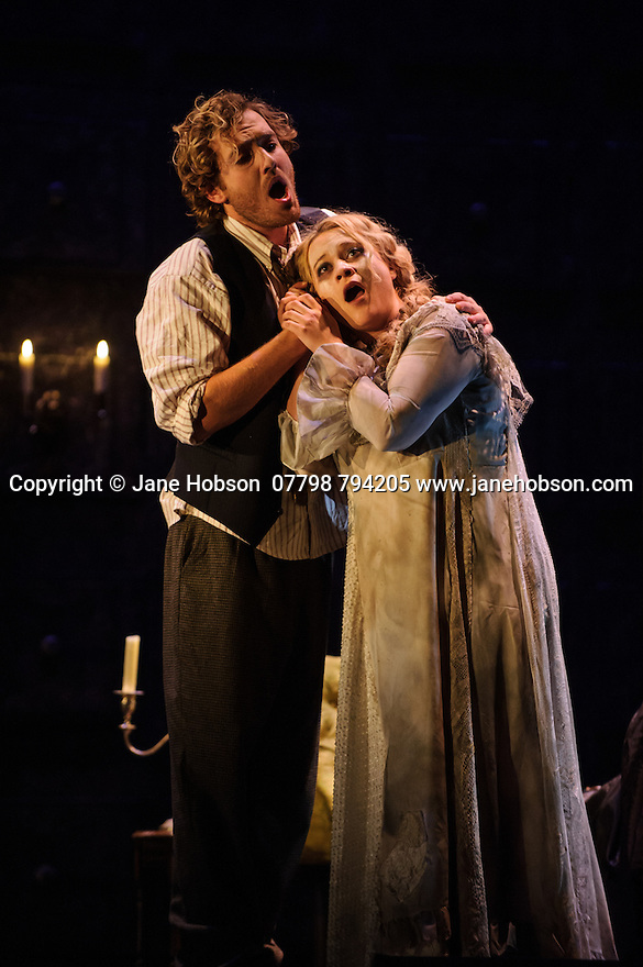 London, UK. 07.10.2015. English Touring Opera presents THE TALES OF HOFFMANN, at the Britten Theatre, Royal College of Music. Written by Jacques Offenbach, with libretto by Jules Barbier, this production is directed by James Bonas. Picture shows: Sam Furness (Hoffmann), Ilona Domnich (Antonia). Photograph © Jane Hobson.