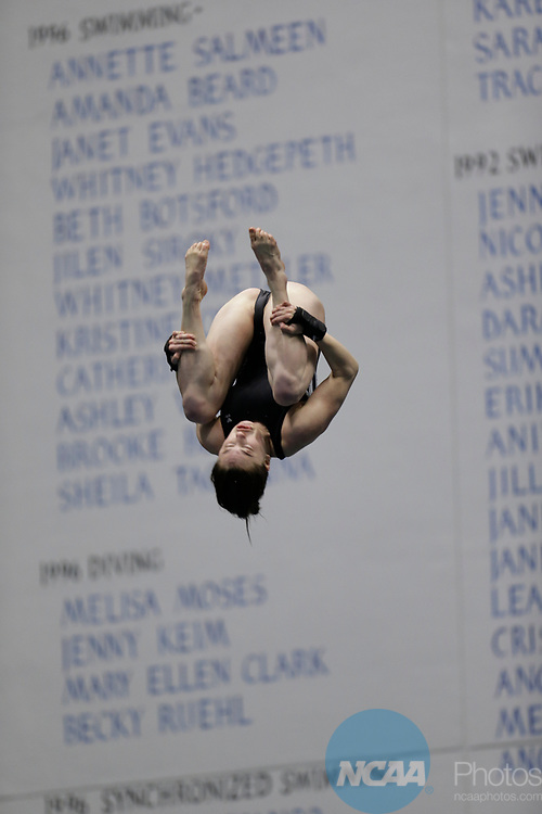 INDIANAPOLIS, IN - MARCH 18: Olivia Rosendah of Northwestern dives in the platform diving event during the Division I Women's Swimming & Diving Championships held at the Indiana University Natatorium on March 18, 2017 in Indianapolis, Indiana. (Photo by A.J. Mast/NCAA Photos via Getty Images)