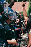 (5-17-99) RIVERSIDE--A SECTION--A.V. Johnson, right, a member of the Riverside Steering Committee for Tyisha Miller and pastor of Salvation Christian Church Ministries, shouts her protests at the steps of Police Headquarters in Riverside on Monday. San Bernardino County Sun photo by Rodrigo Peña.
