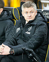 4th January 2020; Molineux Stadium, Wolverhampton, West Midlands, England; English FA Cup Football, Wolverhampton Wanderers versus Manchester United; Manchester United Manager Ole Gunnar Solskjaer in the team dug out before the kick off  - Strictly Editorial Use Only. No use with unauthorized audio, video, data, fixture lists, club/league logos or 'live' services. Online in-match use limited to 120 images, no video emulation. No use in betting, games or single club/league/player publications