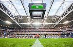 Solna 2015-08-10 Fotboll Allsvenskan AIK - Djurg&aring;rdens IF :  <br /> Vy &ouml;ver Friends Arena med vinkel fr&aring;n gr&auml;set under lineup inf&ouml;r matchen mellan AIK och Djurg&aring;rdens IF <br /> (Foto: Kenta J&ouml;nsson) Nyckelord:  AIK Gnaget Friends Arena Allsvenskan Djurg&aring;rden DIF inomhus interi&ouml;r interior gr&auml;s gr&auml;smatta naturgr&auml;s gr&auml;s supporter fans publik supporters