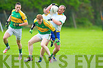Finuge's Fergus Fitzmaurice get to the ball before Skellig's Ger O'Sullivan in Finuge on Sunday.