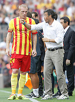 FC Barcellona's coach Luis Enrique Martinez with his player Jeremy Mathieu during La Liga match.September 13,2014. (ALTERPHOTOS/Acero) <br /> Football Calcio 2014/2015<br /> La Liga Spagna<br /> Foto Alterphotos / Insidefoto