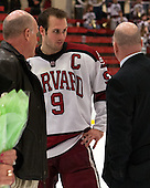 Peter Biega, Danny Biega (Harvard - 9), Ted Donato (Harvard - Head Coach) - The Class of 2013 was celebrated following the final Harvard Crimson home game of the season on Saturday, March 2, 2013, at Bright Hockey Center in Cambridge, Massachusetts.
