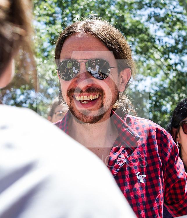 Pablo Iglesias during the presentation of the electioneering of Unidos Podemos. Jun 2,2016. (ALTERPHOTOS/Rodrigo Jimenez)