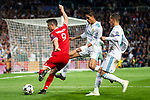 Real Madrid Raphael Varane and Lucas Vazquez and Bayern Munich Robert Lewandowski during Semi Finals UEFA Champions League match between Real Madrid and Bayern Munich at Santiago Bernabeu Stadium in Madrid, Spain. May 01, 2018. (ALTERPHOTOS/Borja B.Hojas)