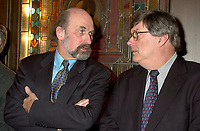 Former Radio Canada journalist Normand Lester (R) discuss with the President of St-Jean Baptiste Society ; Guy Bouthilier (L), before beeing presented the Grand prix du journalisme Olivar-Asselin, December 10th 2001 in Montreal, CANADA<br /> in recognition of his courage and excellence in journalism.<br /> Lester was suspended from Radio Canada after writing a book ; Le Livre Noir du Canada Anglais (Canada Black Book) on the history of oppression of Quebec by the English Canada.<br />     <br /> <br /> (Photo by Pierre Roussel - Images Distribution)