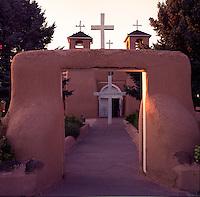 St. Francis Church at sunset, Ranchos de Taos, New Mexico.
