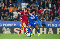 Ben Woodburn of Liverpool battles Hamza Choudhury of Leicester City  during the football league cup Carabao Cup 3rd round match between Leicester City and Liverpool at the King Power Stadium, Leicester, England on 19 September 2017. Photo by Andy Rowland.