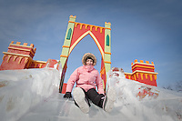 Margherita Miserandino rides an ice slide at the Quebec Winter Carnival (Carnaval de Quebec) in Quebec city, February 3, 2010. With close to one million participants, it has grown to become the third largest winter celebration in the world.
