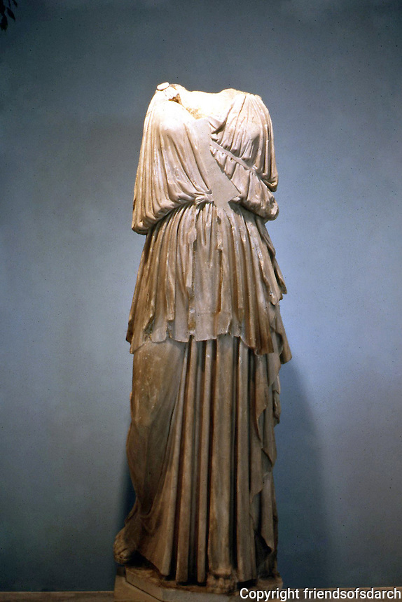 "Greek Arts:  The ""Artemis Lansdowne""--identified by quiver strap across chest.  Artemis in high-belted peplos.  Malibu goddess--Roman 11th c. B.C. copy of early 4th c. B.C. Greek."