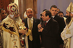 Egyptian President Abdel Fattah al-Sisi attends the Coptic Christmas Eve mass at the Saint Mark's Coptic Orthodox Cathedral in Cairo, capital of Egypt, on Jan 6, 2015. Coptic Pope Tawadros II, head of Coptic Orthodox Church led the mass on the night of Tuesday, which was attended by thousands of Egyptian Coptic Christians. Photo by Amr Sayed