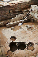 Building 321. Empty burial pit in the floor of the Neolithic remains of mud brick house, north ecavation area, Catalyhoyuk Archaeological Site, Çumra, Konya, Turkey