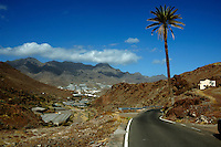 Winding road overlooking covered banana plantations with the mountains of Gran Canaria in the background. Gran Canaria, Spain
