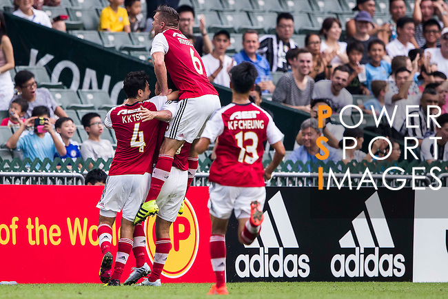 South China's players celebrate after South China's player Chan Siu Ki's scoring the first score at the South China vs Juventus match of the AET International Challenge Cup on 30 July 2016 at Hong Kong Stadium, in Hong Kong, China.  Photo by Marcio Machado / Power Sport Images