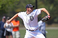 Detroit Tigers minor league player Max Scherzer #37 during a spring training game against the Houston Astros at Tiger Town on March 23, 2011 in Lakeland, Florida.  Photo By Mike Janes/Four Seam Images