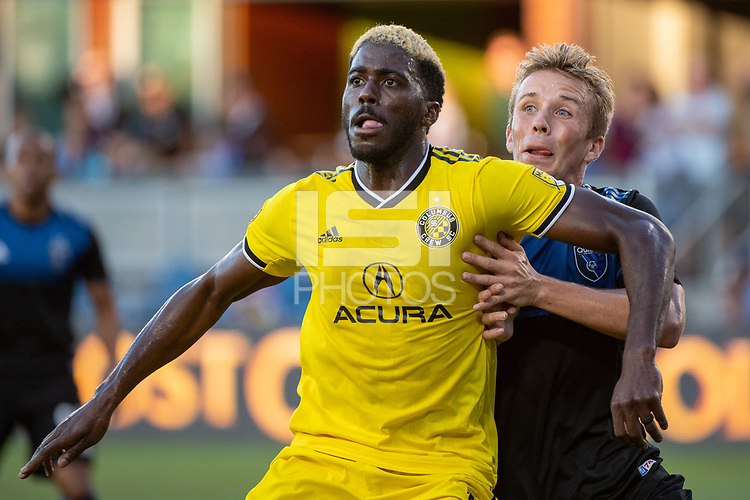 San Jose, CA - Saturday August 03, 2019: Gyasi Zardes #11, Jackson Yueill #14 in a Major League Soccer (MLS) match between the San Jose Earthquakes and the Columbus Crew at Avaya Stadium.