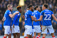 Portsmouth players congratulate Jamal Lowe of Portsmouth second left after scoring the first goal during Portsmouth vs Gillingham, Sky Bet EFL League 1 Football at Fratton Park on 10th March 2018