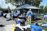 Kansas City, MO - Sunday August 28, 2016: KC Blue Crew, fans prior to a regular season National Women's Soccer League (NWSL) match between FC Kansas City and the Boston Breakers at Swope Soccer Village.