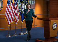 Speaker of the United States House of Representatives Nancy Pelosi (Democrat of California) departs after conducting her weekly press conference in the US Capitol in Washington, DC on Thursday, January 10, 2019.  The Speaker took questions on Democratic legislative priorities and yesterday's meeting with US President Donald J. Trump at the White House.<br /> Credit: Ron Sachs / CNP /MediaPunch