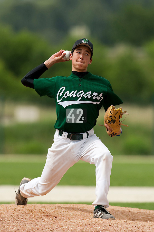22 May 2009: Julien Higashiyama of Montigny pitches against La Guerche during the 2009 challenge de France, a tournament with the best French baseball teams - all eight elite league clubs - to determine a spot in the European Cup next year, at Montpellier, France.