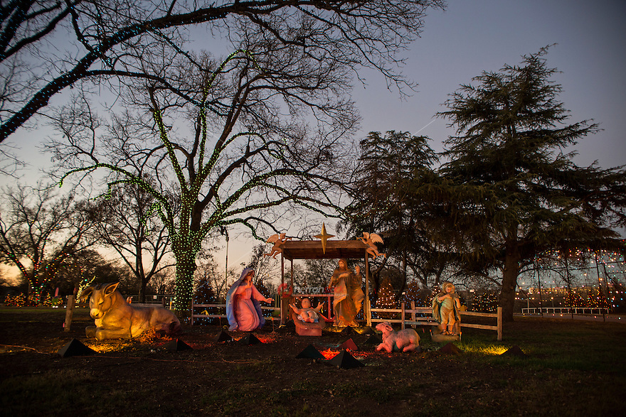 Zilker Park Trail of Lights Nativity Scene with hand-colored figures