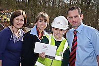First prize winner Lewis Donovan (aged 10) with Taylor Wimpey Site Manager Melvin Elford and Sales Executive Jess Street, and with Deputy head Lesley Pennington.??UNP 25074/HaslimannTaylor PR??Taylor Wimpey, Whiteley Primary School, Fareham??When Taylor Wimpey in Portsmouth needed a name for its newest development in the area it turned to some of the brightest young minds in the region - pupils at Whiteley Primary School...The house builder launched a competition for pupils at the school to come up with a name for the development, which is located off Shetland Rise in Whiteley. To give them some helpful hints Taylor Wimpey Southern Counties provided an information pack about the history of the site...Year 6 pupil Lewis Donovan, aged 10, came up with the winning name, Wildberry Way, which incorporates the natural beauty of the nearby ancient woodland. Nine year old Nicole Beukman won second prize for her suggestion of Chestnut Hide and Miles Elvidge, aged 10, was awarded third prize for putting forward Hazelbrook Rise. .?Representatives (Site Manager Melvin Elford and Sales Executive Jess Street) from Taylor Wimpey visited the school to award the children their prizes.??Date Taken:  01/04/10??Location:?Whiteley Primary School, Gull Coppice, Whiteley, Fareham,.Hampshire , PO15 7LA??Contact:?Rosie Sanderson 0121 355 3446??Commissioned by:  UNP?Mandy Taylor?UNP Ltd.24 Victoria Road,.Saltaire,.BD18 3JR.England, UK.P 01274 412222.F 01274 590999.iSDN 01274 420446.email: mandy@unp.co.uk