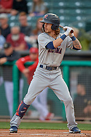 Ian Miller (7) of the Tacoma Rainiers bats against the Salt Lake Bees at Smith's Ballpark on May 27, 2019 in Salt Lake City, Utah. The Bees defeated the Rainiers 5-0. (Stephen Smith/Four Seam Images)