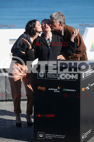 Actors Iraia Elias, Kandido Uranga and Amparo Badiola pose during `Amama´ film presenation at 63rd Donostia Zinemaldia (San Sebastian International Film Festival) in San Sebastian, Spain. September 21, 2015. (ALTERPHOTOS/Victor Blanco) /NortePhoto.com