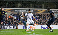 Erik Lamela of Tottenham Hotspur scores his second goal during the UEFA Europa League group match between Tottenham Hotspur and Monaco at White Hart Lane, London, England on 10 December 2015. Photo by Andy Rowland.