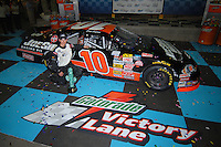 Apr 19, 2007; Avondale, AZ, USA; Nascar Grand National Division driver (10) Joey Logano celebrates after winning the AlphaTrade.com 150 at Phoenix International Raceway. Mandatory Credit: Mark J. Rebilas