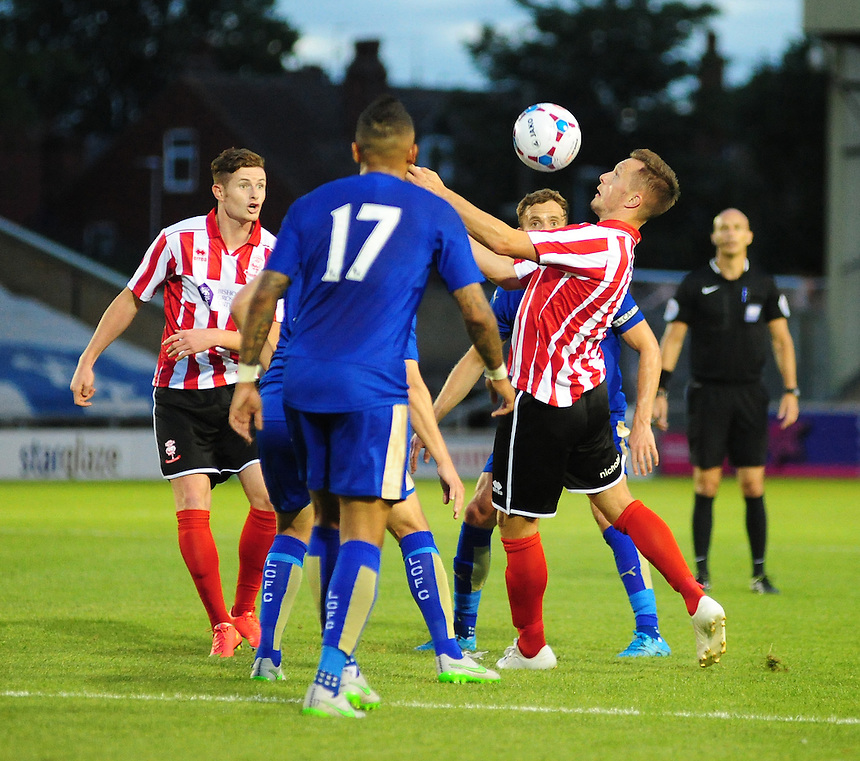 Lincoln City&rsquo;s Shaun Harrad looks for a way through the Leicester City defence<br /> <br /> Photographer Chris Vaughan/CameraSport<br /> <br /> Football - Football Friendly - Lincoln City v Leicester City - Tuesday 21st July 2015 - Sincil Bank - Lincoln<br /> <br /> &copy; CameraSport - 43 Linden Ave. Countesthorpe. Leicester. England. LE8 5PG - Tel: +44 (0) 116 277 4147 - admin@camerasport.com - www.camerasport.com
