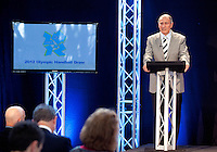 30 MAY 2012 - LONDON, GBR - Dr Hassan Moustafa, President of the IHF, welcomes guests to the London 2012 Olympic Games Handball Draw at the National Sports Centre in Crystal Palace, Great Britain .(PHOTO (C) 2012 NIGEL FARROW)