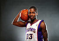 Dec. 16, 2011; Phoenix, AZ, USA; Phoenix Suns guard Dwight Buycks poses for a portrait during media day at the US Airways Center. Mandatory Credit: Mark J. Rebilas-