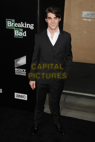 RJ Mitte<br /> &quot;Breaking Bad&quot; Final Episodes Los Angeles Premiere Screening held at Sony Pictures Studios, Culver City, California, USA, 24th July 2013.<br /> full length suit hand in pocket black smiling white shirt <br /> CAP/ADM/BP<br /> &copy;Byron Purvis/AdMedia/Capital Pictures