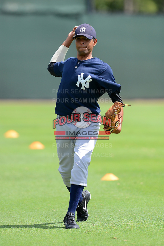 GCL Yankees 2 pitcher Jose Pena (92) during practice before a game against the GCL Phillies on July 22, 2013 at Carpenter Complex in Clearwater, Florida.  GCL Yankees defeated the GCL Phillies 2-1.  (Mike Janes/Four Seam Images)