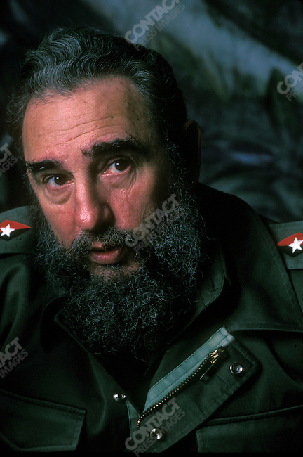 Fidel Castro, President of Cuba, on a plane to Nicaragua. January 1985<br />