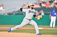 Biloxi Shuckers starting pitcher Angel Ventura (40) delivers a pitch during a game against the Tennessee Smokies at Smokies Stadium on May 26, 2017 in Kodak, Tennessee. The Smokies defeated the Shuckers 3-2. (Tony Farlow/Four Seam Images)