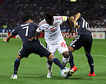 September 1, 2016, Saitama, Japan - UAE's Ismail Al Hammadi (C) fights the ball against Japan's Ryota Ohshima (L) and Shinji Kagawa and gets a penalty kick during the Asian qualifier for FIFA World Cup Russia against UAE in Saitama, suburban Tokyo on Thursday, September 1, 2016. UAE defeated Japan 2-1.   (Photo by Yoshio Tsunoda/AFLO) LWX -ytd-