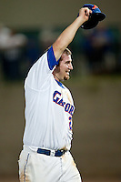 June 11, 2010:    Florida Pitcher Alex Panteliodis (24) celebrates after pitching a complete game during game one of NCAA Gainesville Super Regional action between the University of Florida Gators and Miami Hurricanes at Alfred A. McKethan Stadium on the campus of University of Florida in Gainesville.   Florida defeated Miami 7-2 to take a 1-0 lead in the best of three series............