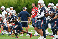 July 24, 2014 - Foxborough, Massachusetts, U.S.- New England Patriots quarterback Ryan Mallett (15) (red) has a laugh with head coach Bill Belichick (left) during the New England Patriots training camp held at Gillette Stadium in Foxborough Mass.Eric Canha/CSM